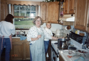 Baby brother Danny with Mom and Grandma in the kitchen.