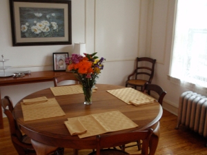 The dining room is currently my favorite room in the house. Flowers courtesy of my certain special fella.