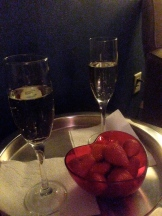 We were treated to champagne and strawberries before our couples massage.
