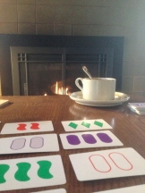 We had plenty of time for hot chocolate, card games, and dominoes by the fire.