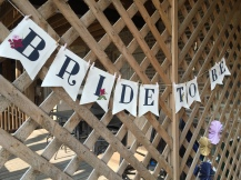 """Bride to be"" banner, hand painted by one of my talented sisters in law!"